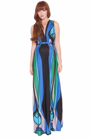 SOLD OUT Olian Allison Deep V Neck Maternity Nursing Maxi Dress