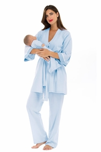 SOLD OUT Olian Anne 4 Piece Mom And Baby Maternity And Nursing Pajama Set - Baby Blue Micro Stripe