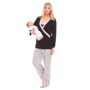 Olian Anne 4 Piece Mom And Baby Maternity And Nursing Pajama Set - Black/White