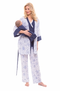 SOLD OUT Olian Anne 4 Piece Mom And Baby Maternity And Nursing Pajama Set - Blue/White