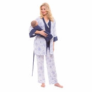 Olian Anne 4 Piece Mom And Baby Maternity And Nursing Pajama Set - Blue/White