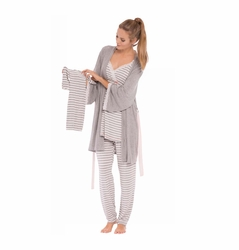 Olian Anne 4 Piece Mom And Baby Maternity Nursing Pajama Gift Set - Grey Stripe