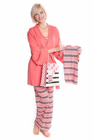 SOLD OUT Olian Anne 5 Piece Mom And Baby Maternity Nursing Pajama Gift Set - Zig Zag