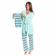 Olian Anne 4 Piece Mom And Baby Maternity Nursing Pajama Gift Set - Zig Zag