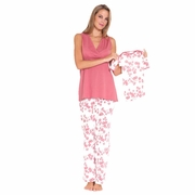 Olian Anne 5 Piece Mom And Baby Maternity Nursing Pajama Gift Set - Cherry Blossom