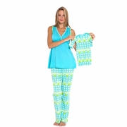 Olian Anne 5 Piece Mom And Baby Maternity Nursing Pajama Gift Set - Circle Print