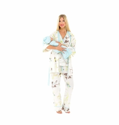 Olian Anne 5 Piece Mom And Baby Maternity Nursing Pajama Gift Set - Floral Sprigs