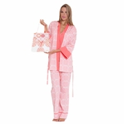 Olian Anne 5 Piece Mom And Baby Maternity Nursing Pajama Gift Set - Medallion Print