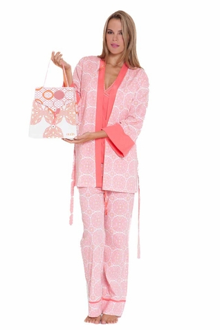 TEMPORARILY OUT OF STOCK Olian Anne 5 Piece Mom And Baby Maternity Nursing Pajama Gift Set - Medallion Print