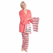 Olian Anne 5 Piece Mom And Baby Maternity Nursing Pajama Gift Set - Zig Zag
