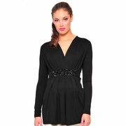 Olian Black V-Neck Embellished Evening Maternity Top