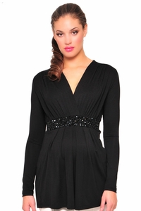 SOLD OUT Olian Black V-Neck Embellished Evening Maternity Top