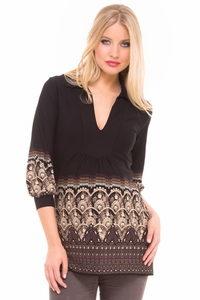 Olian Camila Arabesque Print Maternity Tunic Top