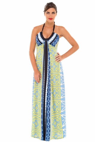Olian Cary Halter Maternity Maxi Dress