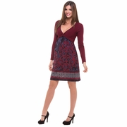 Olian Dahlia Arabesque Print Knot Front Maternity Dress