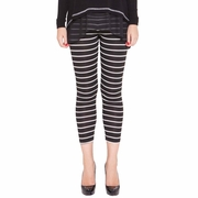 Olian Daisy Cropped Maternity Striped Legging