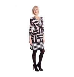 Olian Deep V Neck Geometric Print Dress