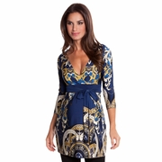 Olian Edie Arabesque Print Maternity Tunic Top