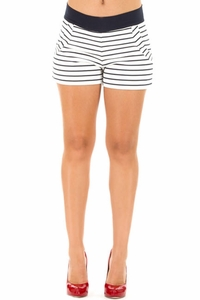 Olian Gena Ponte Striped Maternity Shorts