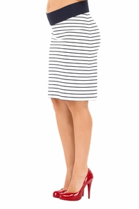 Olian Gena Ponte Striped Maternity Skirt