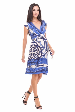 SOLD OUT Olian Helen Geo Print Maternity Faux Wrap Dress