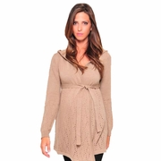 Olian Hooded Maternity Cardigan Sweater With Belt