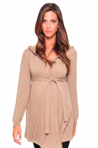 SOLD OUT Olian Hooded Maternity Cardigan Sweater With Belt