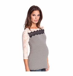 SOLD OUT Olian Karina Mixed Media Stripe Lace Maternity Top