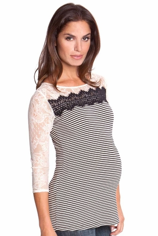 Olian Karina Mixed Media Stripe Lace Maternity Top