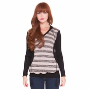 Olian Kim Maternity Nursing Striped Hooded Top