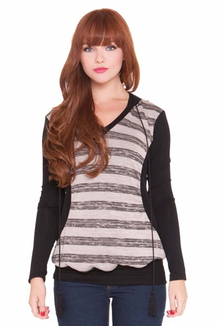 SOLD OUT Olian Kim Maternity Nursing Striped Hooded Top
