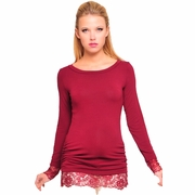 Olian Lace Trim Maternity Tunic