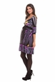 Olian Laura V Neck Abstract Signature Print Maternity Dress