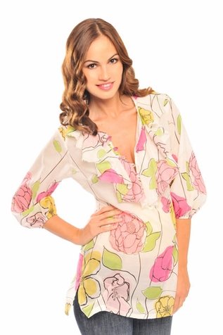 SOLD OUT Olian Lola Maternity Floral Peasant Top