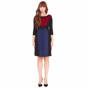 Olian Lucy Color Block 3/4 Sleeve Maternity Dress