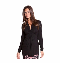 Olian Lucy Knot Front Long Sleeve Maternity Top