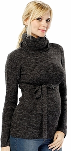 Olian Turtleneck Maternity Sweater With Tie