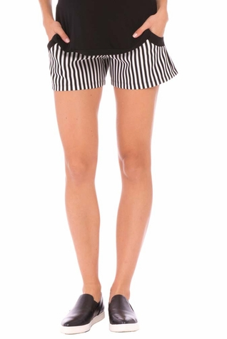 Olian Megan Striped Maternity Shorts