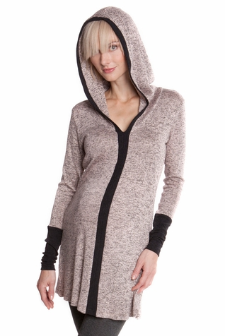 Olian Melissa V-Neck Hooded Pullover Maternity Sweater