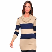 Olian Rugby Stripe Tunic Cowl Neck Maternity Sweater