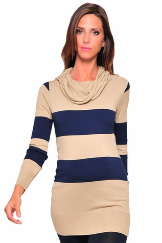 SOLD OUT Olian Rugby Stripe Tunic Cowl Neck Maternity Sweater