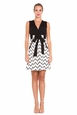 Olian Sandra Chevron Print Ponte Maternity Dress