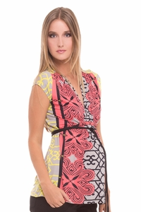 Olian Sofia Arabesque Print Maternity Top