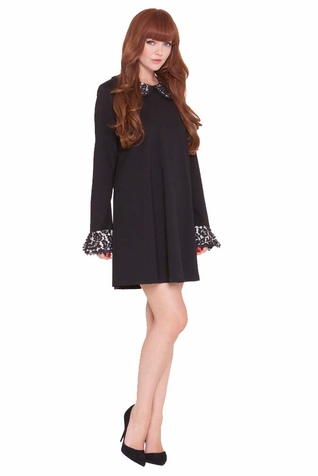 Olian Tabitha Little Black Maternity Dress With Lace Collar & Cuffs