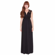 Olian Vero Crochet Lace Trim Maternity Maxi Dress
