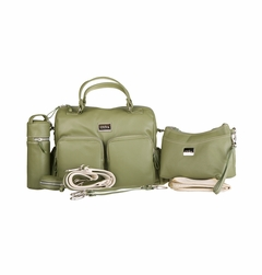 Oliva Leather Baby & Beyond Diaper Bag - Olive