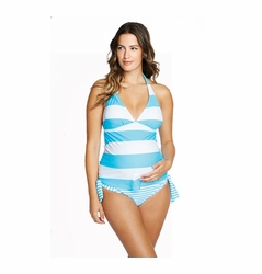 OUT OF STOCK Maternal America Josie Two Piece Maternity Tankini Swimsuit -Stripes