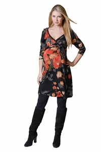 Pour Deux Maternity For Two Raglan Faux Floral Wrap Dress