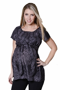 SOLD OUT Pour Deux Maternity For Two Silk Pleated Neckline Raglan Tunic