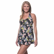 Prego Babydoll Halter Maternity Tankini Swimsuit - Palm Leaf Print